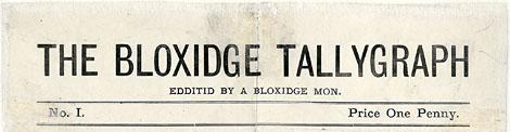 The Bloxidge Tallygraph masthead 1874