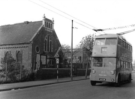 Walsall Corporation Transport Trolleybus No. 353, a Sunbeam F4, passes Leamore Wesley Church on Bloxwich Road, 1964 (Jack Haddock)