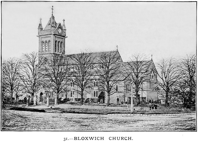 All Saints Church, Bloxwich, about 1880s (WLHC)