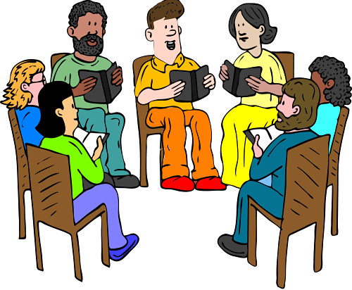 This image shows a bunch of people coming together in a reading group