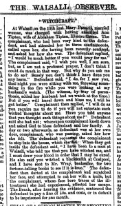 Witchcraft - Walsall Observer, 24th July 1869