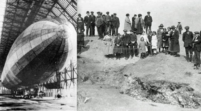 Zeppelin L21 berthed at Nordholz, 1916, and the crater it left in Bradford Place.