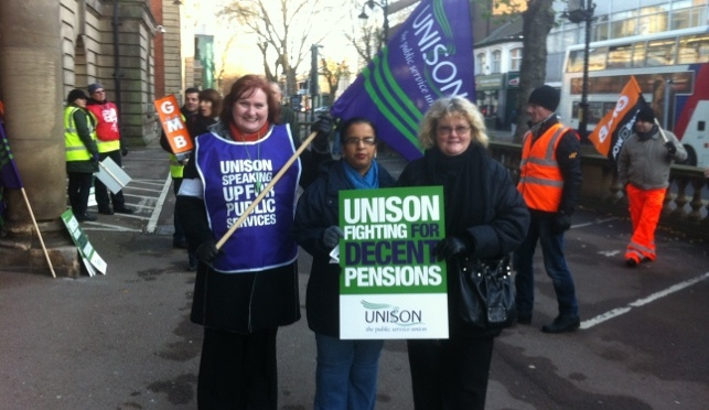 Public sector workers strike in Walsall