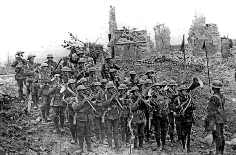 Band of the 5th Battalion South Staffordshire Regiment in the ruins at Ypres.