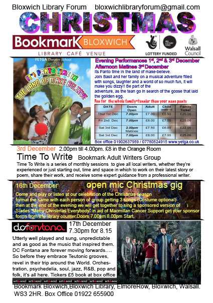 Bookmark Theatre December Flyer