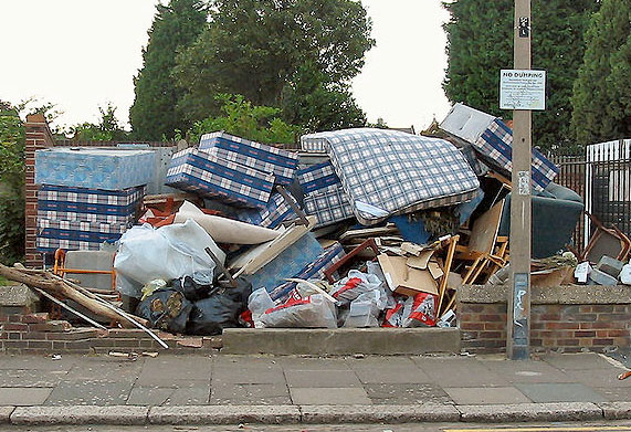 Fly-tipping in London (Wikipedia).