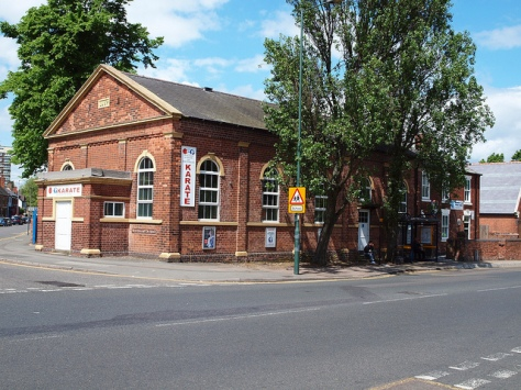 Former Bloxwich Music Hall and at rear the Police Station