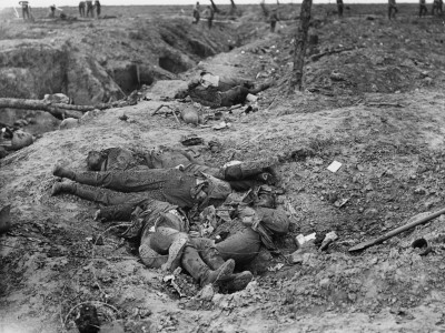 German dead at the sunken road in Guillemont during the battle of The Somme.