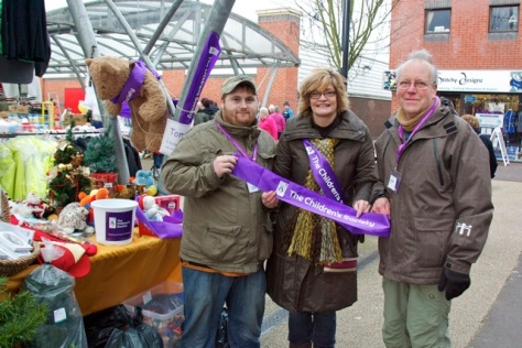 John Roberts, Paula Neal (manager) and David Merriman represented The Children's Society on Bloxwich Market