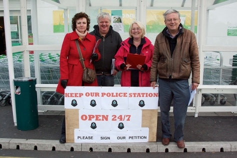 Labour Councillors Julie Fitzpatrick (left), Shaun Fitzpatrick, Ann Young and Ian Robertson at ASDA Bloxwich