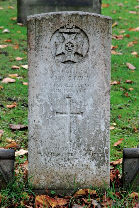 Monument to Harold Parry at Field Rd Cemetery, Bloxwich.