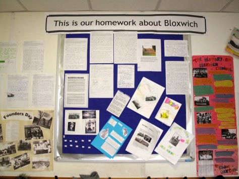 Pupils' homework about Bloxwich history