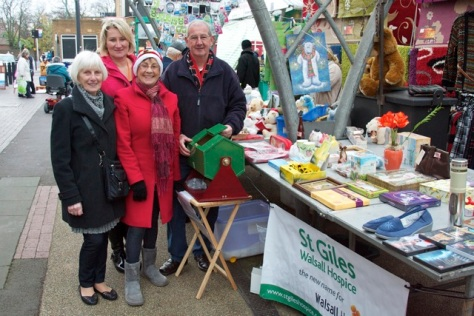 Shirley Hodgkins (left), Vicky Caddy, Cllr Kath Phillips and Maurice Phillips ran the St Giles Walsall Hospice market stall and tombola