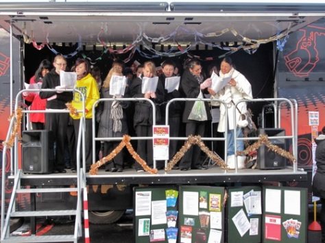 Pupils from Walsall Academy performing on the 'Move' truck last year.