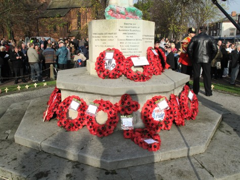 Wreaths at Bloxwich War Memorial.
