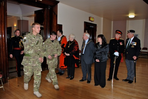 Soldiers are welcomed to Walsall Town Hall