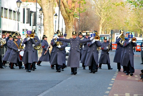 The Regimental Band turns into Lichfield Street from Tower Street