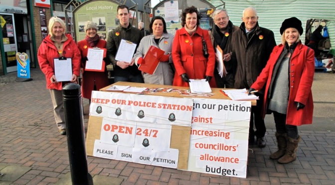 Labour Party members campaigning at Bloxwich Market