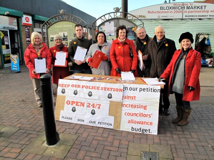 Labour Party members campaigning at Bloxwich Market Square