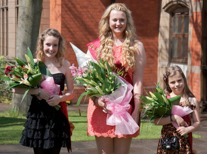 2012 Bloxwich Carnival Queen Alice Jones (centre) and her attendants Princess Amelia Ellis (left) and Rosebud Megan Leigh Small.