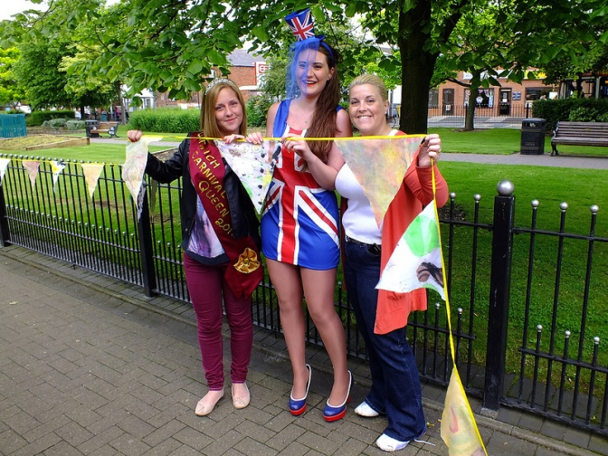 Abigail Nicholls Jessica Jones and Nikki Rolls with bunting