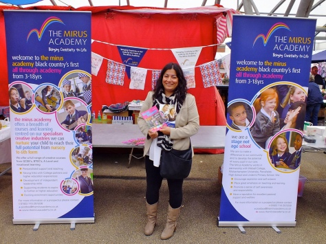 Baljit Dutfield, Director of Creative Industries and Partnerships, represents Mirus Academy at Bloxwich Market