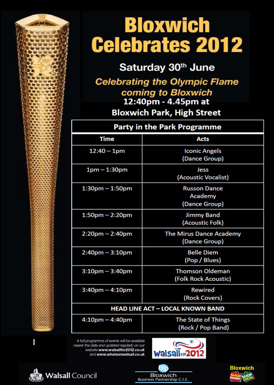 Bloxwich Celebrates! Olympic Torch Party Posters
