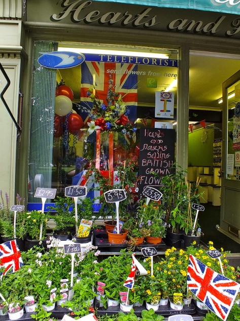 Diamond Jubilee window and plants by Hearts and Flowers