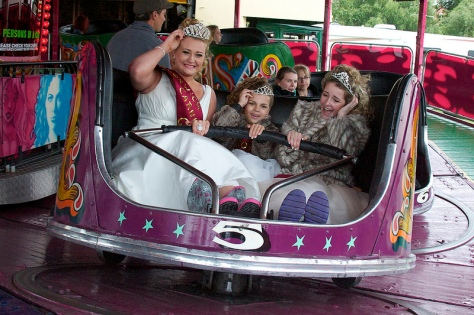 L to R: 2012 Bloxwich Carnival Queen Alice Jones, 2012 Rosebud Megan Leigh Small and 2012 Princess Amelia Ellis enjoy a wild ride on the Waltzer