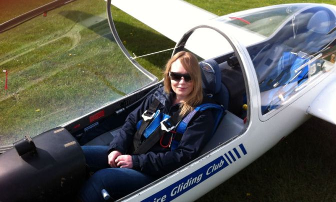 Louise Shaw in a glider