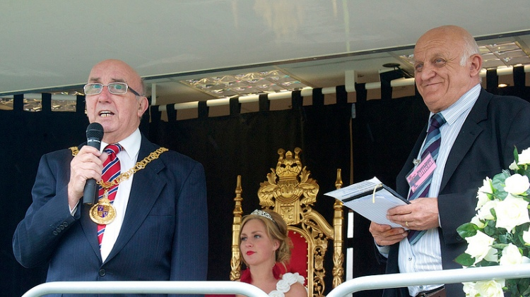 Mayor of Walsall Cllr Dennis Anson (left) opens the 2012 Bloxwich 'Diamond Jubilee' Carnival as Terry Bate looks on