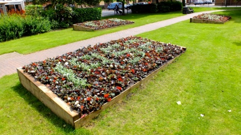 New Diamond Jubilee flower beds await the judges scrutiny...