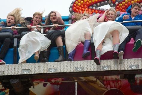 Scream Queens Abigail Nicholls, Jessica Jones, Princess Amelia Ellis and Alice Jones go sky-high on the Pat Collins Scream ride