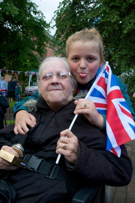 Sue Keough (seated) celebrates with granddaughter Tia Keough aged 10, from Mossley