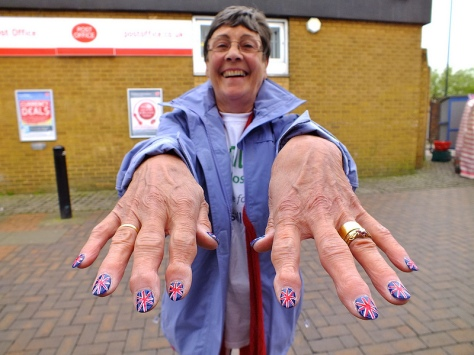The patrotic nails of Bloxwich Councillor Kath Philips on Bloxwich Market!