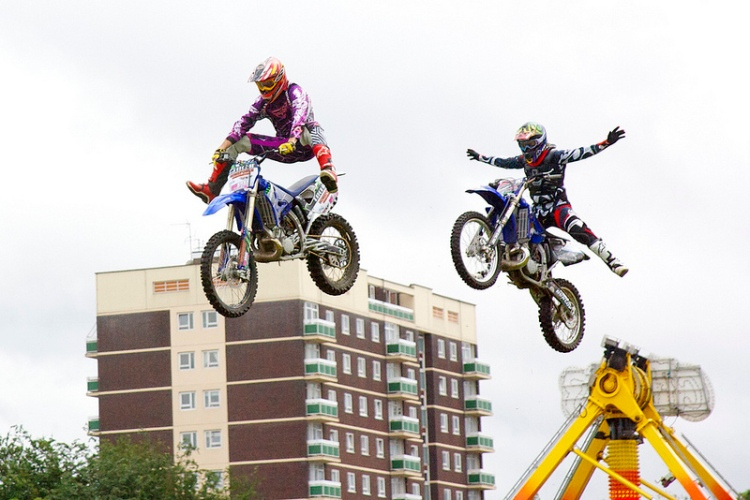 UK FMX stunt motorcycle team in the arena jump the Sandbank Flats!