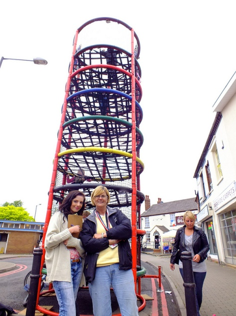 Walsall Council's Reach Up climbing frame operated by Jackie Hewitt (right) and colleague