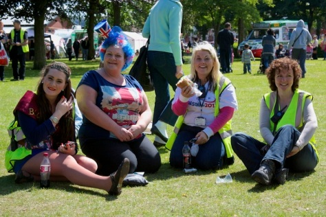 A well-deserved rest and some live music at the end of the day for hard-working Jessica Jones, Debbie Jones, Nikki Rolls and Julie Fitzpatrick