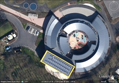 Christ Church CE Primary School, Leamore, from space (courtesy Google earth)