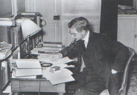 Harry Hinsley at his desk in Cambridge