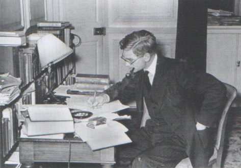 Harry Hinsley at his desk in Cambridge