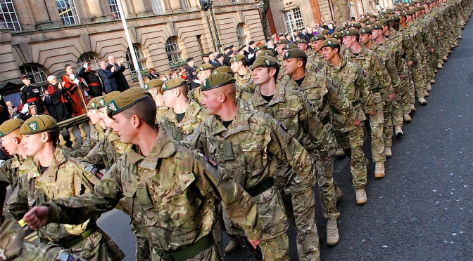 Homecoming parade of the 3rd Battalion Mercian Regiment (Staffords) in Walsall, 1 December 2011