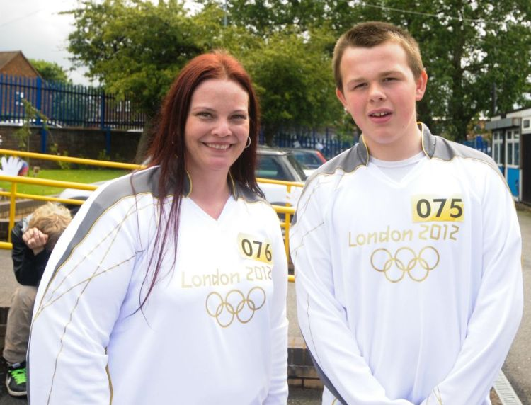 Leamore Torch Bearers Tanya Fouche and Callum Pattinson (courtesy Alan Hough)