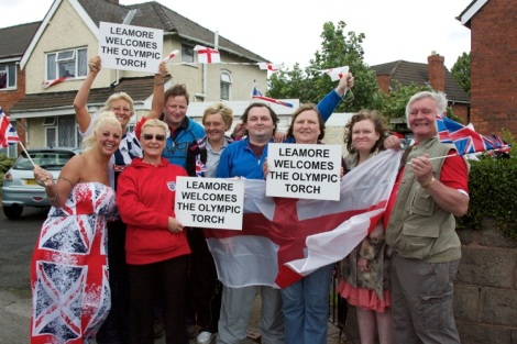 Leamore welcomes the Olympic Torch Front Toni, Helen and Brenda Allport, Glenys, Jody and Brian Smith and back Michael Horler, Suzanne and Nicholas Smith
