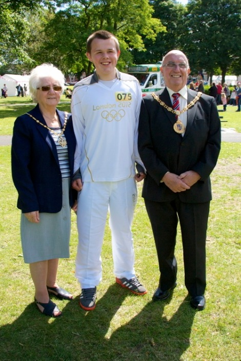 Olympic Torchbearer Callum Pattinson from Stoke-on-Trent later met up with the Mayor and Mayoress of Walsall in Bloxwich Park.