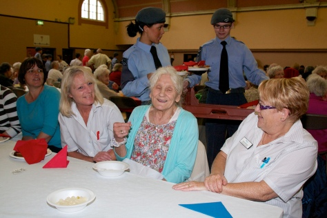 The happy throng were served by cheery volunteers including these two young people from the 196 (Walsall) Squadron Air Training Corps, based in Stokes Street, Bloxwich