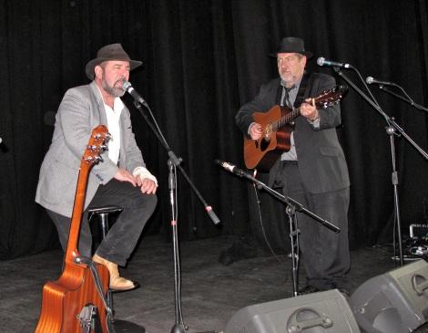 Chuck Micallef and Tony Barrett onstage at Bookmark Bloxwich Theatre
