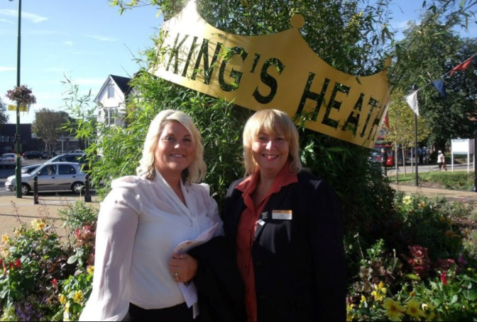 Nikki Rolls of Walsall Council and Emma Harewood, Chair of Bloxwich Business Partnership, at Kings Heath Park to collect the award (courtesy Niki Rolls).