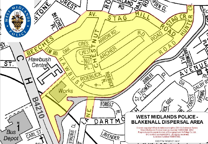 Blakenall Dispersal Order Map courtesy West Midlands Police.