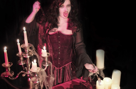 Countess Dracula dines out...